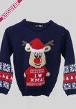 Navy Kids I Love XMAS Reindeer Christmas Jumper