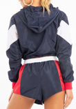 Navy Two Tone Crop Hood and Shorts Tracksuit