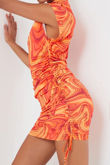 Orange Marble Print Slinky High Neck Ruched Bodycon Dress