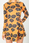 Orange Pumpkin Print Halloween Swing Dress