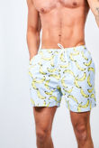 Pastel Blue Banana Printed Swimshorts