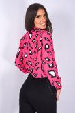 Pink Leopard Print High Neck Sheered Blouse