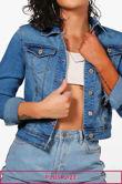 Plus Size Crop Mid Blue Denim Jacket