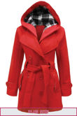 Plus Size Red Double Breast Coat