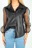 Polka Mesh Sleeve Leather Shirt
