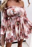 Pink Bardot Floral Ruffle Dress