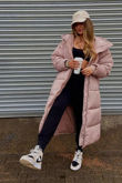 Pink Hooded Maxi Padded Coat