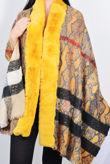 Printed Faux Fur Trim Reversible Cape