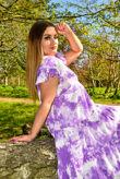 Purple Tie Dye Frill Sleeve Smock Dress