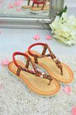 Red Aztec Strap Flat Sandals