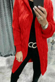 Red Cable Knit Hood Cardigan