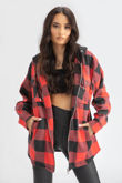 Red Check Shacket With Hood