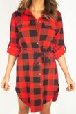 Red Checked Tie Shirt Dress
