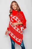 Red Christmas Reindeer Poncho