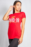 Red Covid Free Tee Top