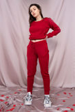 Red Lounge Wear Knitted Set