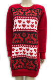 Red Reindeer And Snowflake Print Christmas Sweat Dress
