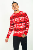 Red Snowflake Merry Alavus Christmas Jumper