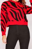 Red Zebra Print Crop Jumper
