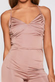 Rose Slinky Ruched Crop Top And Shorts Co-Ord
