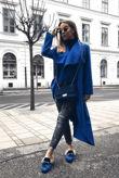 Royal Blue Long Waterfall Duster Coat
