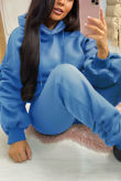 Royal Ruched Hoodie And Jogger Set