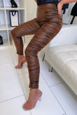 Ruched Side Panel PU Leggings
