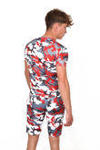 Red Camo Printed Muscle Fit Short Set