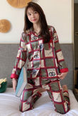 Red Chequered Printed Long Sleeve Satin PJ Set