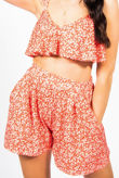 Red Ditsy Floral Ruffle Trim Crop Top And Flippy Shorts Set