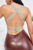 Sage Ruched Double Layer Criss Cross Strappy Crop Top