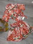 Boho Print Tie Front Top And Belted Shorts Set