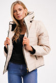 Stone Quilted Padded Puffer Bubble Fur Collar Jacket