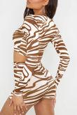 Stone Zebra Print Slinky Twist Knot Crop Top