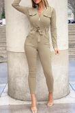 Taupe Zip Front Pocket Design Bengaline Jumpsuit With Belt