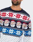 Navy Santa Pattern Stripe Christmas Jumper