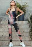 Tie Dye Texture Vest Top And Leggings Gym Set
