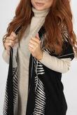 Beige Roll Neck Rib Midi Dress With Contrast Print Cardigan
