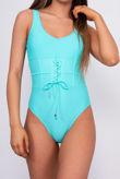 Turquoise Corset Waist Scoop Swimsuit
