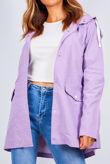 Lilac Taslan Coated Hooded Rain Coat