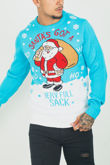 Turquoise Santa Full Sack Christmas Jumper
