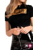 Plus Size Black Vogue Tie Crop T-Shirt