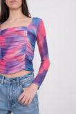 Violet Tie Dye Ruched Mesh Top