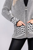 White And Black Knitted Zip Through Cardigan