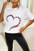 White Butterfly Heart Printed Oversized Tee