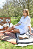 White Cotton Blend V Neck Crochet Shirred Waist Frock Dress