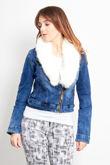 White Fur Crop Denim Jacket