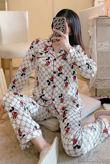 White Mickey Mouse Long Sleeve Satin PJ Set