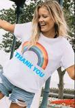 White Rainbow Thank You Tee Top