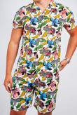 White Tropical Zebra Print Shirt and Swim Short Set